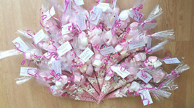 Pink  Pre-filled Sweet Cones Party Bags Favours Personalised Christening Wedding • 1.30£