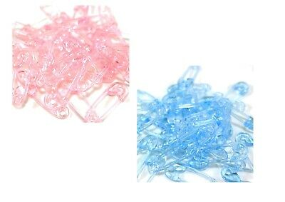 40 Baby Shower Christening Party Pink Blue Nappy Pins Favor Cake Decorations • 2.99£