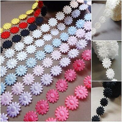 Daisy Flowers Trim Satin Lace Ribbon CRAFTS Scrapbook Wedding Sewing  • 0.99£