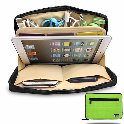 AU23.38 • Buy Green Universal Storage Accessories Travel Organiser IPad Air,Tablets,USB,Cables