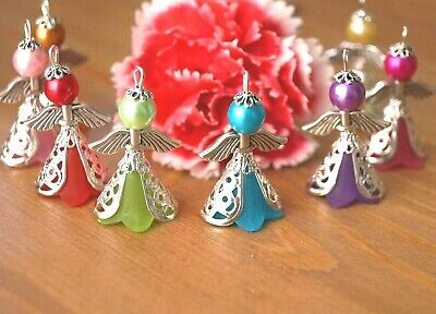 £5.89 • Buy KIT 20 Mix Angel Charms Pendants Frosted Flower Beads Wings COLOURS MAY VARY