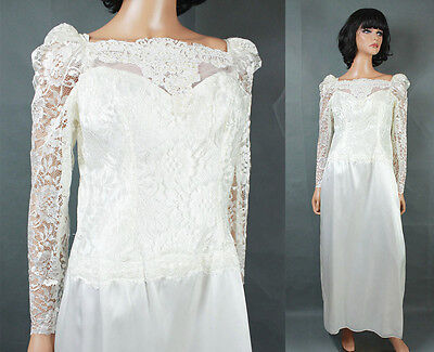 AU162.24 • Buy Vintage 80s Wedding Gown Sz M White Long Sleeve Lace Satin Dress Pearl Beads