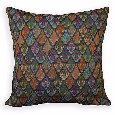 Ng17a Peacock Red Blue Green Black Blue Yellow Linen Cushion Cover/Pillow Case • 17.85£