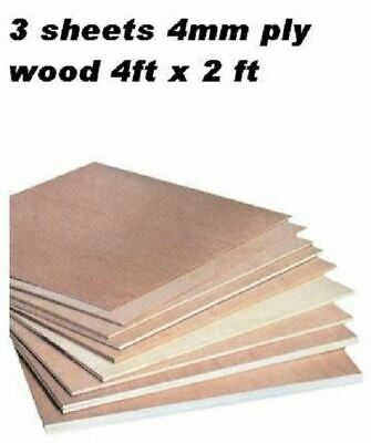 3 Sheets Plyboard Ply Wood For Flooring Subfloors 4ft X 2ft 3.6mm Thick Board • 30.15£