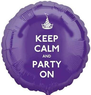 Anagram KEEP CALM AND PARTY ON Birthday Round Foil Helium Balloon 17  • 1.99£