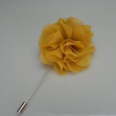 Lapel Flower Camellia Boutonniere Stick Brooch Pin Men's Shirt Suit Tie Blazer • 4.64£