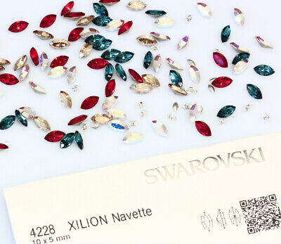Genuine SWAROVSKI 4228 Foiled Xilion Navette Fancy Stone Crystals * All Colors • 3.87£