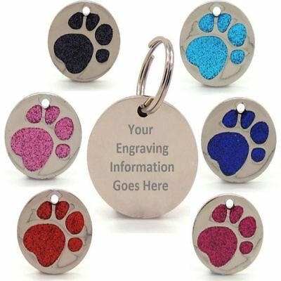 Personalised Engraved Glitter Paw Print Tag Dog Cat Pet ID Tags Reflective • 2.99£
