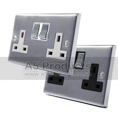 £6.40 • Buy 13 Amp Double Wall Socket 2 Gang In Brushed Satin Matt Chrome Square Style