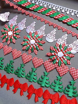 GREEN CHRISTMAS TREES Star Trim Wraping Sewing Snowball White Lace Xmas Flower • 1.20£