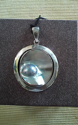 $189 • Buy 925 Fine Sterling Silver Mabe Blistered Pearl Pendant Necklace Charles Albert