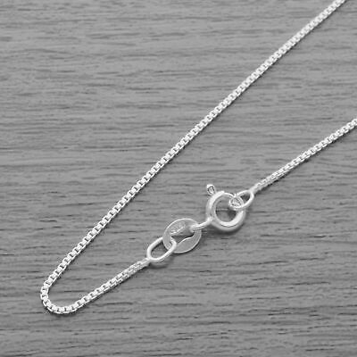 Genuine 925 Sterling Silver 0.9mm Box Chain Necklace • 5.10£
