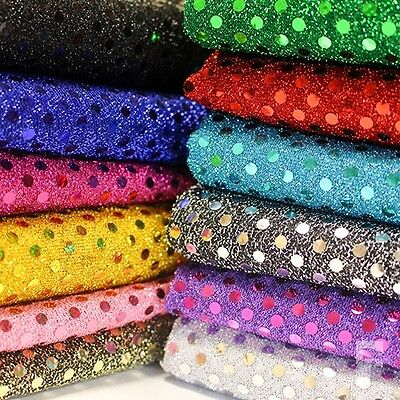 3mm Sequin Shiny Sparkly Material Nylon Polyester Fabric Fancy Dress • 3.15£