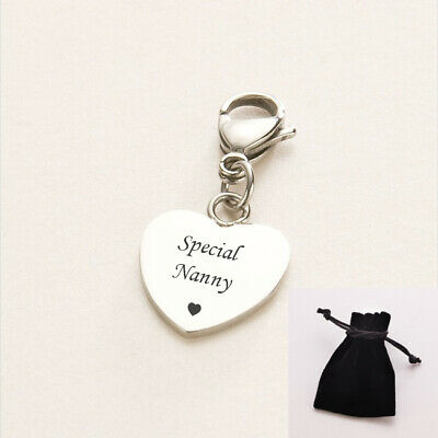 Special Nanny Charm, Gift For Special Nanny, Clip On Heart Charm. • 7.49£
