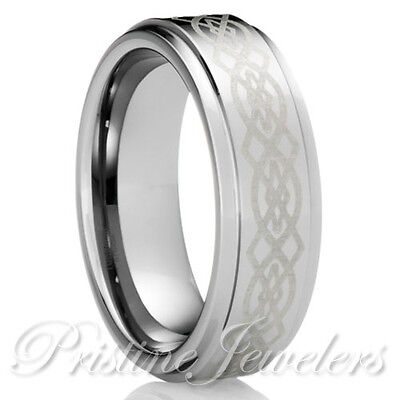 $11.95 • Buy NEW Tungsten Carbide Silver Celtic Knots Mens Jewelry Wedding Band Promise Ring