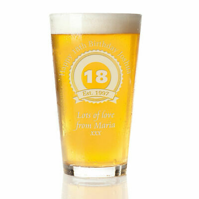 Engraved Beer Pint Glass 18th 21st 30th Personalised Birthday Gift Boxed Present • 13.95£
