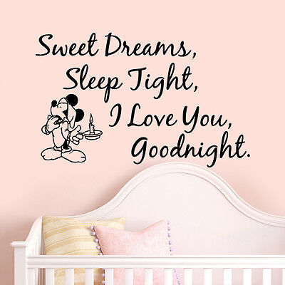 Mickey Mouse Sleep Quote Wall Stickers Art Girls Boys Kids Room Removable Decals • 4.89£