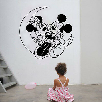Mickey Minnie Mouse Moon Kids Disney Wall Stickers Art Room Removable Decals DIY • 4.89£