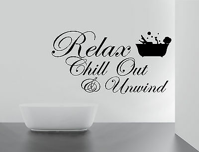 BATHROOM Sticker Decal RELAX CHILL ENJOY UNWIND Quote Wall Art Removable DIY • 3.89£
