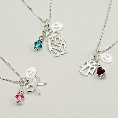 Sterling Silver Birthstone Necklace With Engraving, Choose Bow, Owl, Key Etc • 19.99£
