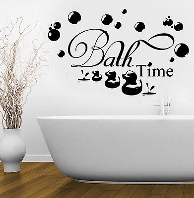 BATHROOM Sticker Decal Bath Time Ducks Soak Relax Quote Wall Art Removable DIY • 3.79£