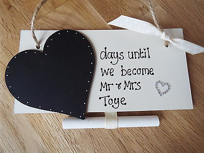 £4.99 • Buy Personalised *countdown To Wedding* Chalkboard Sign Engagement Gift Mr & Mrs