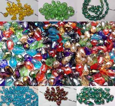 25 Teardrop Briolette Faceted Cut Glass Crystal Beads 10x15mm Jewellery Making • 2.35£