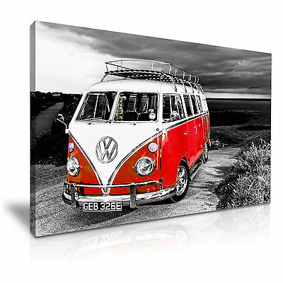 £30.99 • Buy Red VW Camper Van Vintage Campervan Canvas Wall Art Picture Print 76x50cm