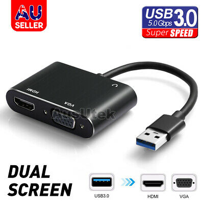AU24.65 • Buy USB 3.0 To HDMI + VGA Full HD 1080p 2K Video Adapter Cable Converter PC Laptop