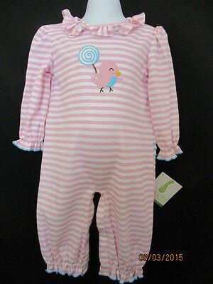 $23.99 • Buy Nwt Girls One Piece Bird Appliqued Longall Pink / White Stripe Zuccini Boutique