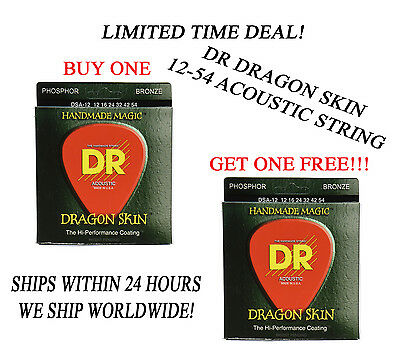 $ CDN18.01 • Buy **dr Dragon Skin Light Acoustic Guitar Strings (12-54) -- Coated Strings**