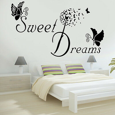 SWEET DREAMS Butterfly LOVE Quote Wall Stickers Bedroom Removable Decals DIY • 3.99£