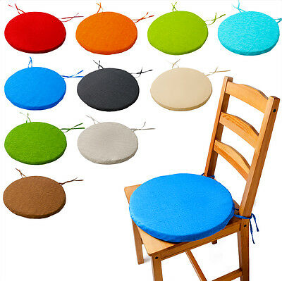 ROUND Bistro Circular Chair Cushion SEAT PADS Kitchen Dining REMOVABLE Cover NEW • 7.49£