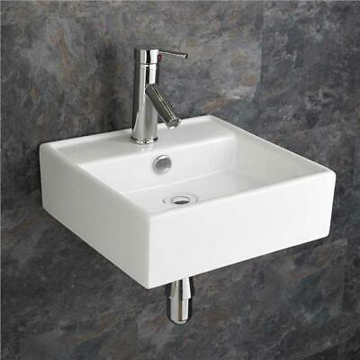 £94 • Buy Wall Hung Basin Square White Ceramic Sink Cloakroom Compact 380mm Bathroom