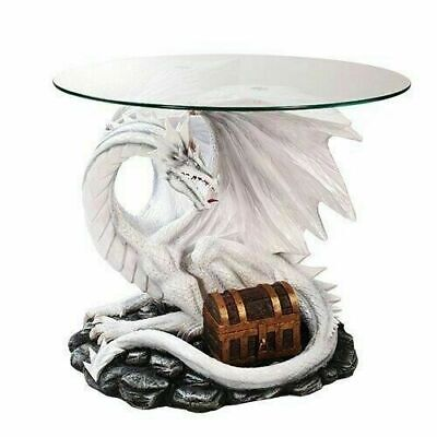 Wise Dragon Treasure Chest Protector Side Table With Glass Fantasy Home Decor • 429.55£