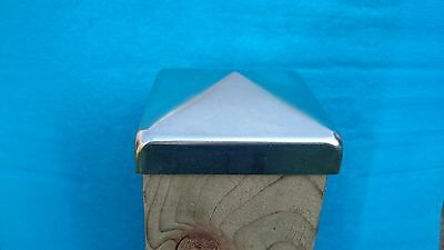 70mm X 70mm (2.8 ) GALVANIZED PYRAMID SQUARE METAL FENCE / GATE POST CAP TOP • 1.08£