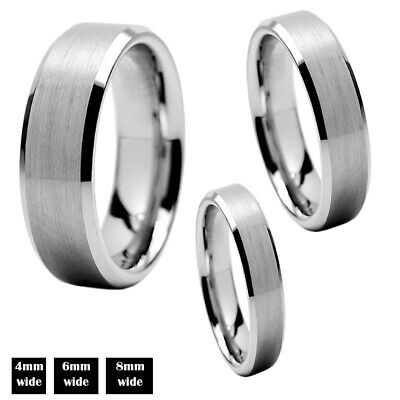 $11.95 • Buy Tungsten Carbide Silver Wedding Band Mens Women Brushed Comfort Fit Ring 6mm 8mm