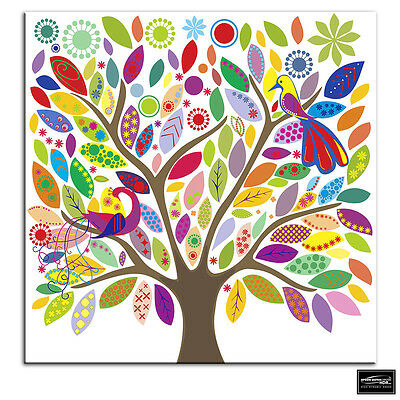 £14.99 • Buy Colourful Tree   Illustration BOX FRAMED CANVAS ART Picture HDR 280gsm