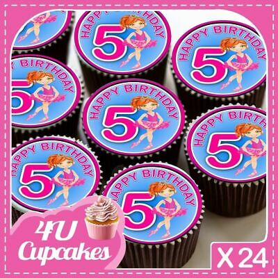 24 X Happy Birthday Pink Ballet Age 5  Edible Cupcake Toppers Rice Paper Cc7181 • 2.39£