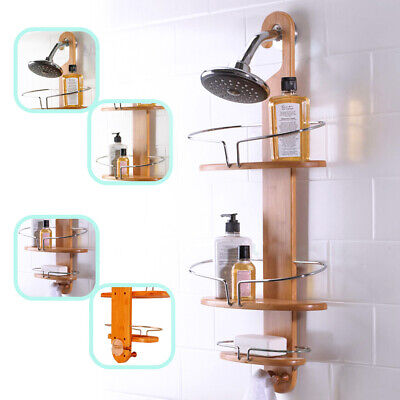 AU34.99 • Buy Bathroom Bamboo Shower Caddy Chrome Steel Bath Shelf Tier Storage Rack With Hook