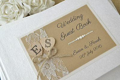 Personalised Wedding Guest Book - Rustic Style Wooden Heart & Lace Design • 25.99£