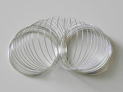 60 Coils Silver Plated Memory Wire Dia 55mm X 0.6mm Bracelet Craft UK SELLER • 2.64£