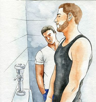 PRINT Of Original Art Work Watercolor Painting Gay Male Nude  Public Toilet 5  • 12.15£