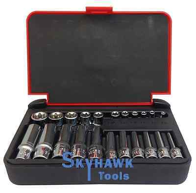 $26.50 • Buy 22-Pc 1/4  & 1/8  DR. Female Star TORX Socket Set E4-E10 & E11-E18 With Case