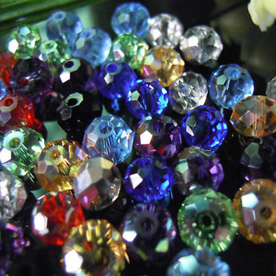 £1.75 • Buy 100-2000 Faceted MIXED Rondelle Crystal Glass Beads 3mm 4mm 6mm 8mm