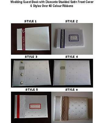 Wedding Guest Book With Diamante Studded Satin Front Cover • 17.99£