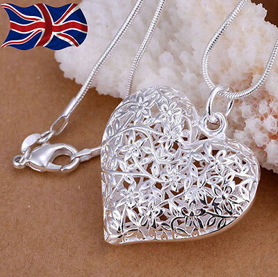 £3.49 • Buy 925 Sterling Silver Plated Heart Necklace Filigree Lace Hollow Pendant Chain UK