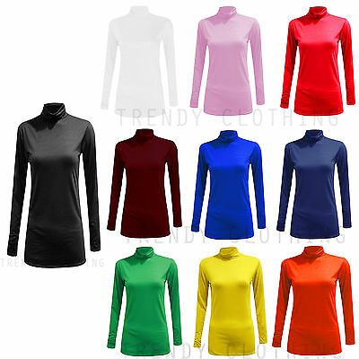 £2.99 • Buy Womens Turtle Neck Polo Neck Long Sleeve Stretch T Shirt Top Jumper