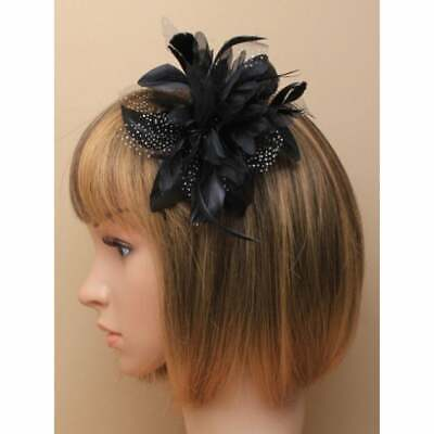 Black Fascinator Comb Flower With Feather Tendrils • 3.50£