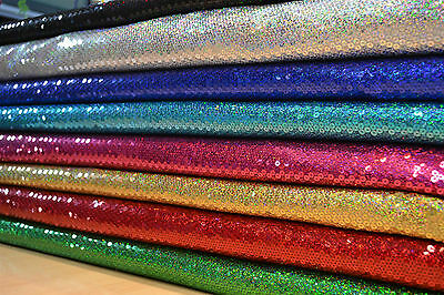 Heavy Sewn On Hologram Sequin Fabric Shiny 1 Way Stretch Dance Stage Material • 21.99£